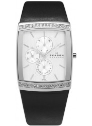 Skagen Women's Glitz Black Leather Watch 656LSLB