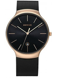 Bering Unisex Black Dial Stainless Steel Mesh Watch 13338-262