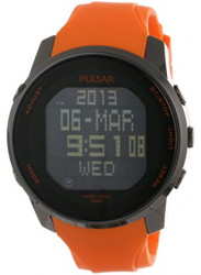 Pulsar Men's Digital Chronograph Black Dial Orange Rubber Watch PQ2013