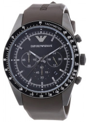 Emporio Armani Men's Black Dial Brown Leather Watch AR5986