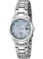 Seiko Women's Solar Mother of Pearl Dial Stainless Steel Watch SUT213