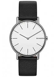 Skagen Men's Signatur Slim Titanium White Dial Black Leather Watch SKW6419