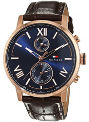 Tommy Hilfiger Men's Blue Dial Brown Leather 1791308