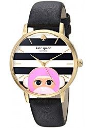 Kate Spade Women's Metro Black/White Dial Black Leather Strap Watch KSW1259