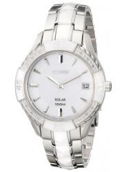 Seiko Women's Solar White Dial White Ceramic Watch SNE881