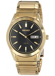 Seiko Men's Solar Black Dial Expansion Bracelet Watch SNE060