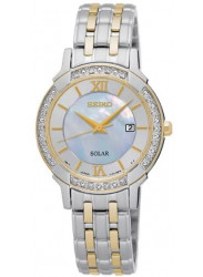Seiko Women's Solar Mother of Pearl Dial Two Tone Watch SUT278