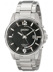 Seiko Men's Kinetic Black Dial Silver Tone Stainless steel Watch SKA671