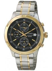 Seiko Men's Chronograph Black Dial Two Tone Watch SKS434
