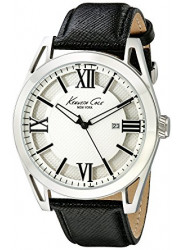 Kenneth Cole Men's New York Silver Dial Black Leather Watch KC8072