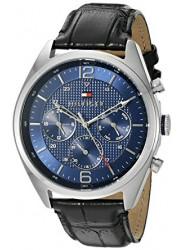 Tommy Hilfiger Men's Blue Dial Black Leather watch 1791182