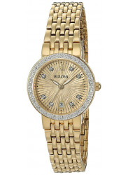 Bulova Women's Maiden Lane Diamond Gold Dial Watch 98R212