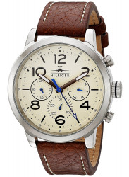 Tommy Hilfiger Men's Jake Beige Dial Brown Leather 1791230