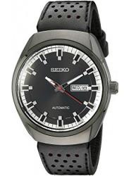Seiko Men's Automatic Black Dial Black Leather Watch SNKN45