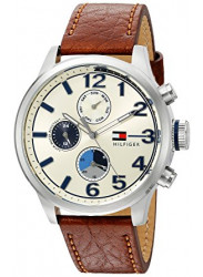 Tommy Hilfiger Men's Beige Dial Brown Leather 1791239