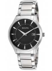 Bulova Men's Stainless Steel Black Dial Watch 96B184