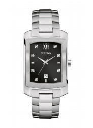 Bulova Men's Diamond Black Dial Watch 96D125