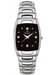 Bulova Women's Diamond Black Dial Stainless Steel Watch 96P15