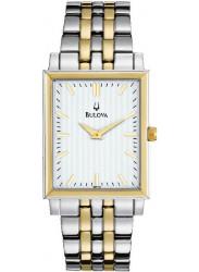 Bulova Men's White Dial Two-Tone Watch 98A115