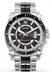 Bulova Men's Black Dial Two Tone Watch 98B180