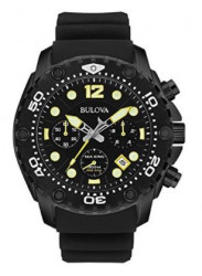 Bulova Men's Sea King UHF Chronograph Black Rubber Strap Watch 98B243