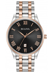 Bulova Men's Black Dial Two Tone Stainless Steel 98B279