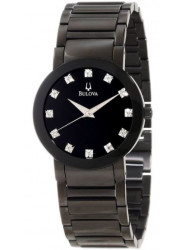 Bulova Men's Black Dial Stainless Steel Watch 98D001