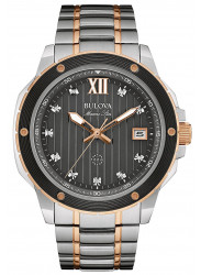 Bulova Men's Black Dial Two Tone Stainless Steel Watch 98D127