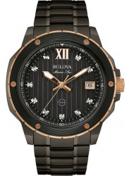 Bulova Men's Marine Star Black Diamond Watch 98D128