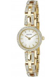 Bulova Women's Crystal Analog Display Quartz Gold Stainless steel Watch 98L213