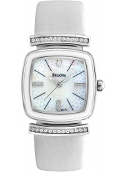 Bulova Women's Mother of Pearl Dial White Leather Watch 98L174