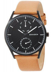 Skagen Men's Holst Brown Leather Black Dial Watch SKW6265