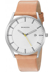 Skagen Men's Holst White Dial Brown Leather Watch SKW6282