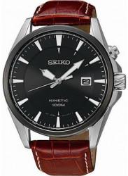 Seiko Men's Kinetic Black Dial Tan Leather Watch SKA569