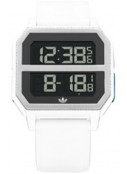 Adidas Men's Archive R2 Digital Silver Dial White Rubber Watch Z16 3273-00