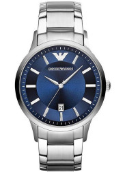 Emporio Armani Men's Renato Blue Textured Dial Stainless Steel Watch AR2477
