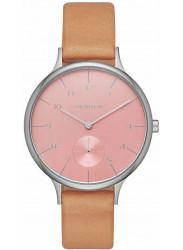 Skagen Women's Anita Pink Dial Brown Leather Watch SKW2406