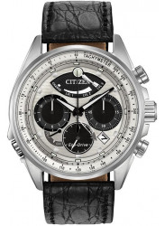 Citizen Men's Eco- Drive Chronograph Silver Dial Black Leather Strap Watch AV0060-00A