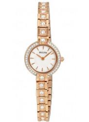 Bulova Women's Crystal Rose Gold Tone Watch 98L215