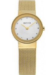 Bering Women's Classic White Dial Gold Stainless Steel Mesh Watch 10126-334