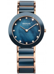 Bering Women's Blue Mother Of Pearl Dial Two Tone Ceramic Watch 11429-767