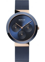 Bering Women's Ceramic Chronograph Blue Dial Blue Stainless Steel Watch 35036-367
