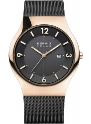 Bering Men's Solar Black Dial Black Mesh Stainless Steel Watch 14440-166