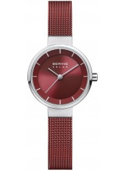 Bering Women's Solar Red Dial Red Stainless Steel Watch 14627-303