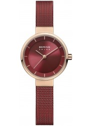Bering Women's Solar Red Dial Red Mesh Stainless Steel Watch 14627-363
