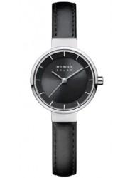Bering Women's Solar Black Dial Black Leather Watch 14627-402