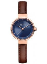Bering Women's Solar Blue Dial Brown Leather Watch 14627-567