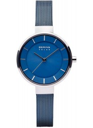 Bering Women's Solar Blue Dial Blue Mesh Stainless Steel Watch 14631-307