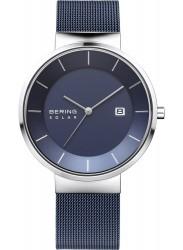Bering Men's Solar Blue Dial Blue Stainless Steel Watch 14639-307