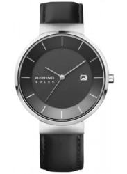 Bering Men's Solar Black Dial Black Leather Watch 14639-402